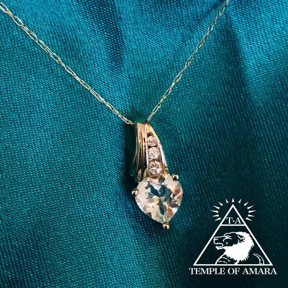 10k Gold Natural Aquamarine Necklace Solid White G