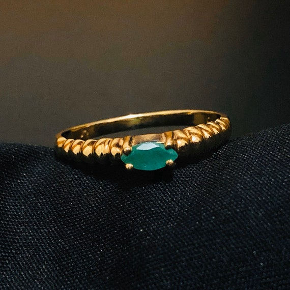Solid gold emerald ring marquise marquis ring gree