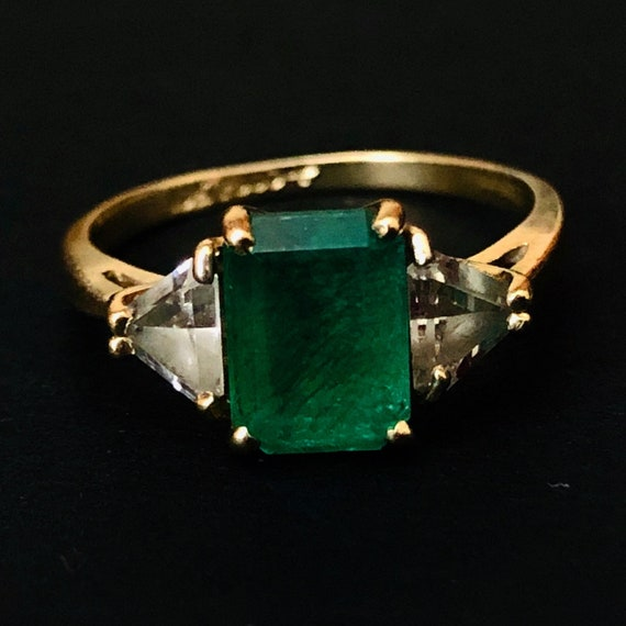 Solid gold emerald ring green ring
