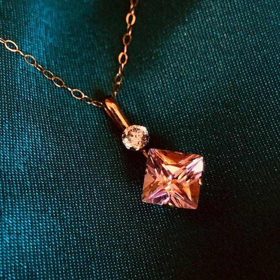 10k Gold Pink Crystal Necklace Pink Necklace Vinta