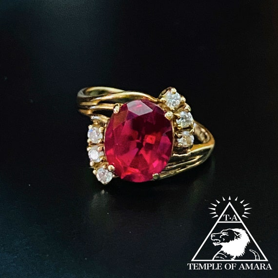 14k Gold Ruby Ring Solid Gold Large Pigeon Blood R