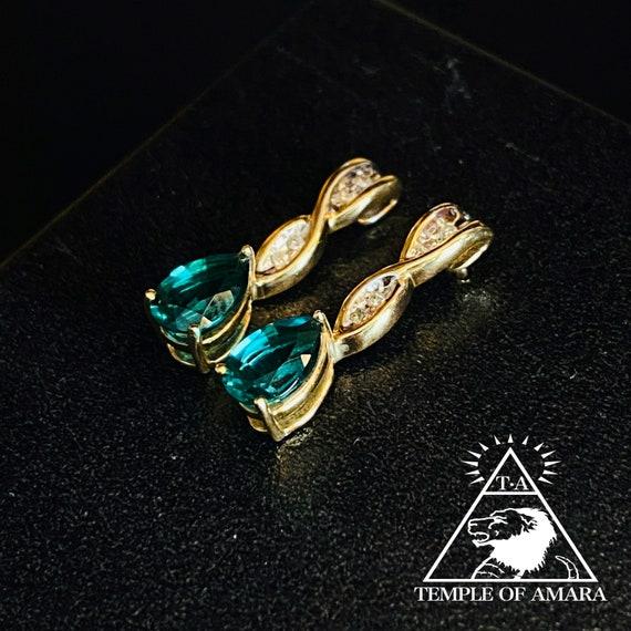 10k Gold Emerald Earrings 10kt Gold Emerald Dangle
