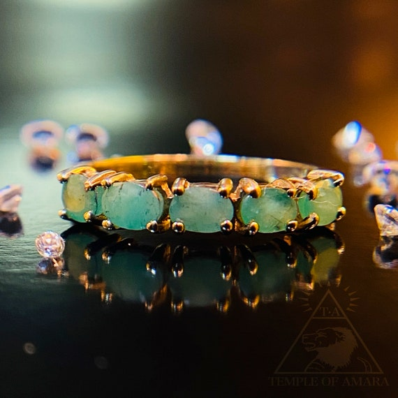 10k Gold Natural Emerald Ring Solid Gold Stackable