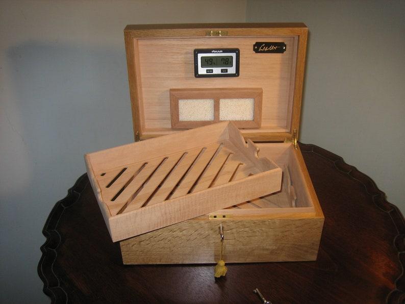 Premium Handmade Solid White Oak Cigar Humidor image 0