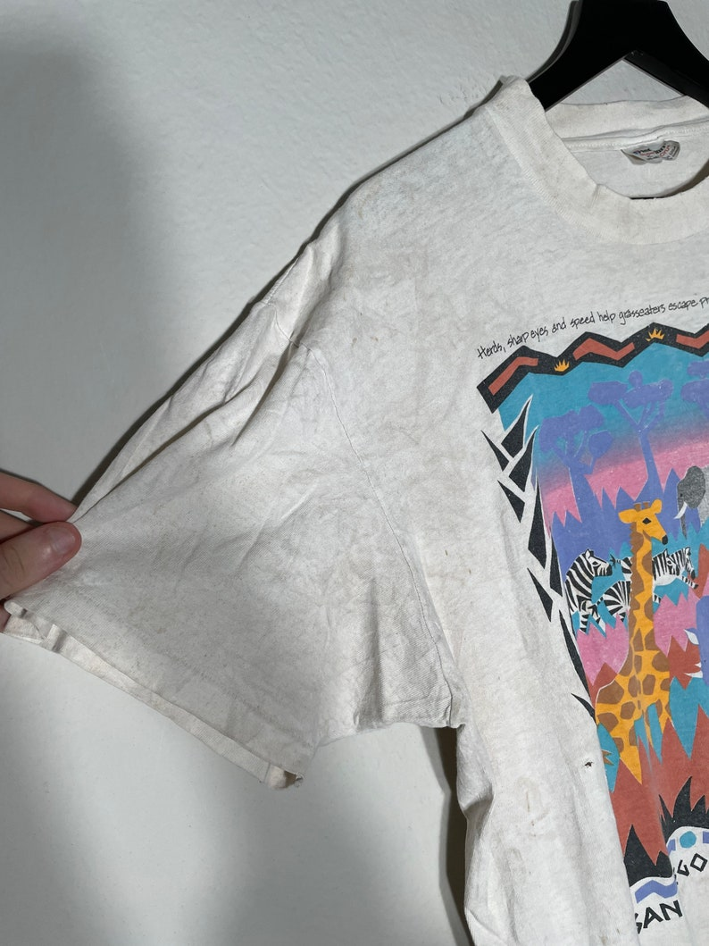 vintage 80s san diego wild life animal park zoo nature shirt rare vtg size XL