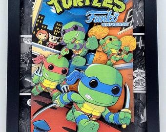 Teenage Mutant Ninja Turtles Comic Book Shadow Box, Diorama, 3D Art - Handmade in USA in Limited Quantities