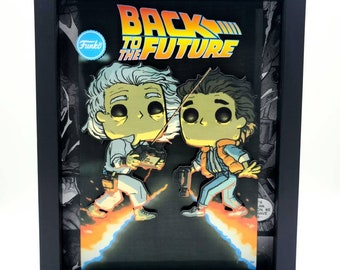 Back to the Future Funko Comic Book Shadow Box, Diorama, 3D Art - Handmade in USA in Limited Quantities