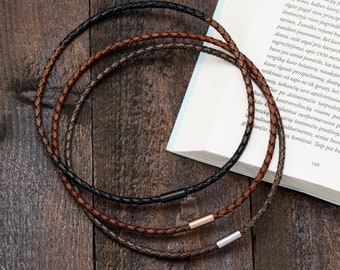 Braided Leather Necklace Choker With Magnetic Stainless Steel Clasp, Length 12 to 24 Inches