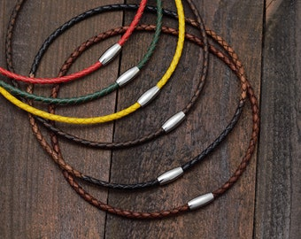 Braided Leather Necklace Choker With Magnetic Stainless Steel Polished Clasp, Length 12 to 24 Inches 4mm Leather Cord