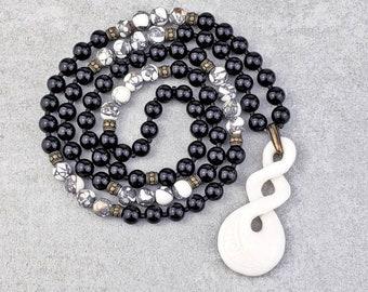 Men/'s MAORI PIKORUA Necklace Men/'s Black Onyx Gemstone Necklace Men/'s Maori Tribal Triple Twist Pikorua Bone Pendant Necklace