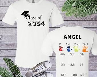 Class Of 2034 Handprint Shirt, Class Of 2034 Shirt, Kindergarten Tee, Handprint Graduation Tee, Add Handprint every year, Grow With Me Shirt