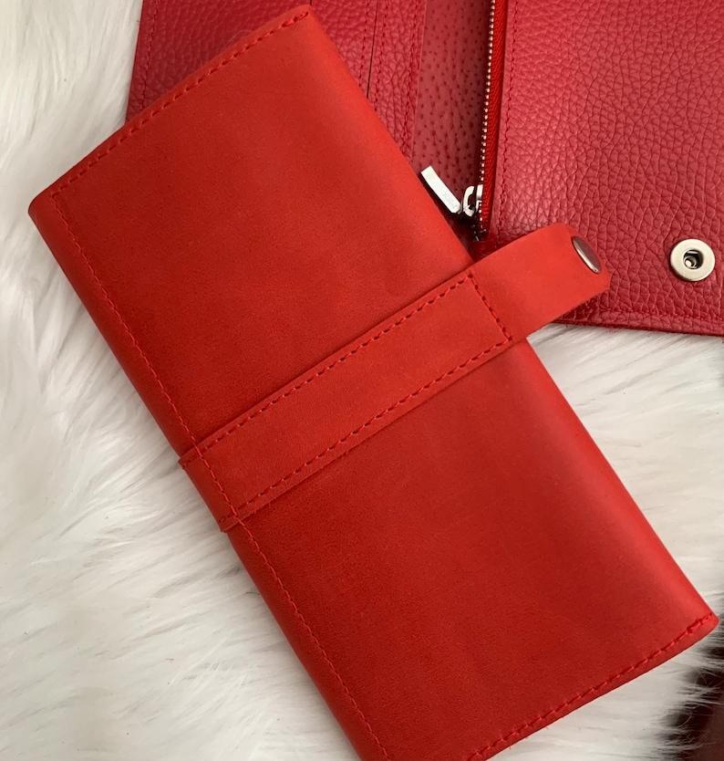 Red leather women wallet Bifold slim women\u2019s wallet