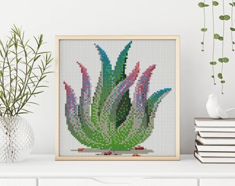 PDF Succ It Succulent Cross Stitch Pattern Embroidery Crossstitch Aloe Zebra Plant Suck DIY Digital houseplant Download Wall Art Hanging