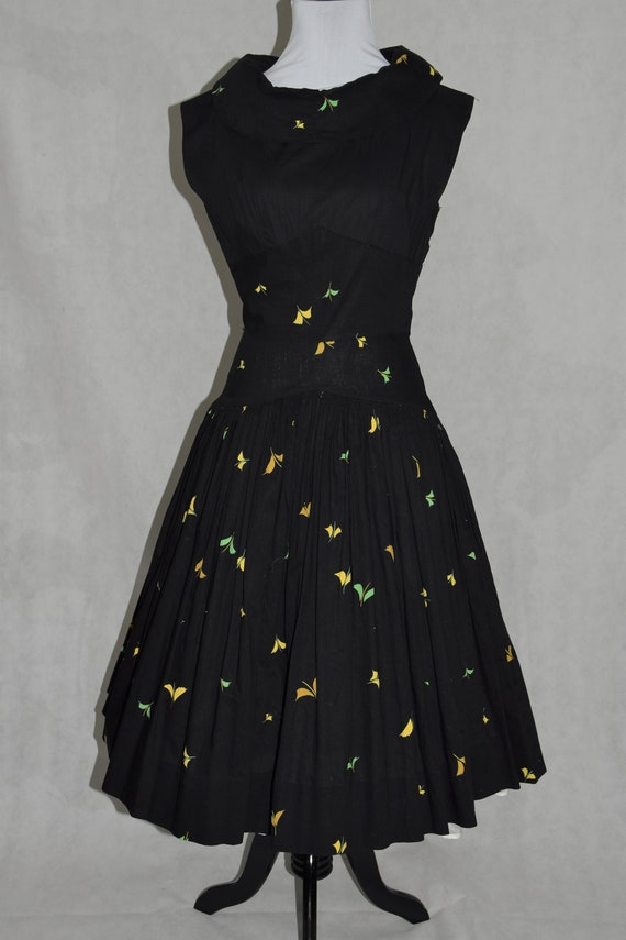 50's Black Cotton Day Dress