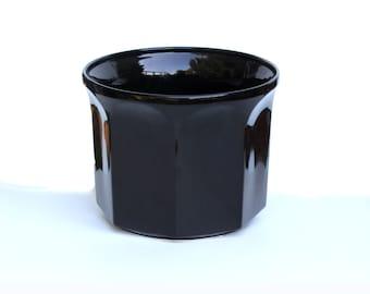 Shiny Black New Vintage Floor Vase or Planter