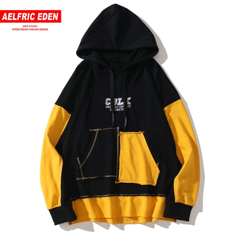 Aelfric Eden Color Clock Patchwork Letter Print Men Hoodie Streetwear Harajuku Hip Hop Pullover Casual Cotton Hooded Sweatshirts