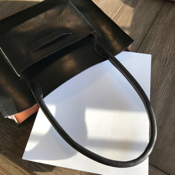 Black Leather Tote bag  Veg Tan  Hand painted leather Leather Bag Laptop Bag  Music books bag Leather Tote Bag for students Genuine Leather