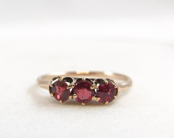 Antique Trilogy Ring - Garnet and Glass Doublets - c. 1900