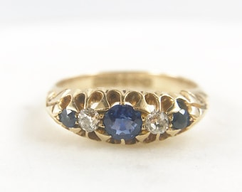 Sapphire and Diamond Ring - 18k gold - Vintage or Antique
