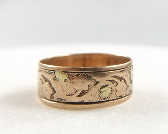 Antique Victorian Cigar Band Wedding Ring - Floral and Vine Motif - 10k gold