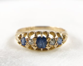 Antique Victorian Sapphire and Diamond Ring - 18k gold