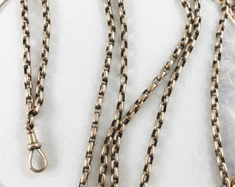 Antique Victorian Long Guard Chain with Dog Clip - 8-9k gold