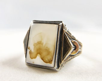 Chunky Ostby & Barton Co Agate Ring - Big Size - Sterling Silver with Gold Filled Accents - Art Deco - Vintage