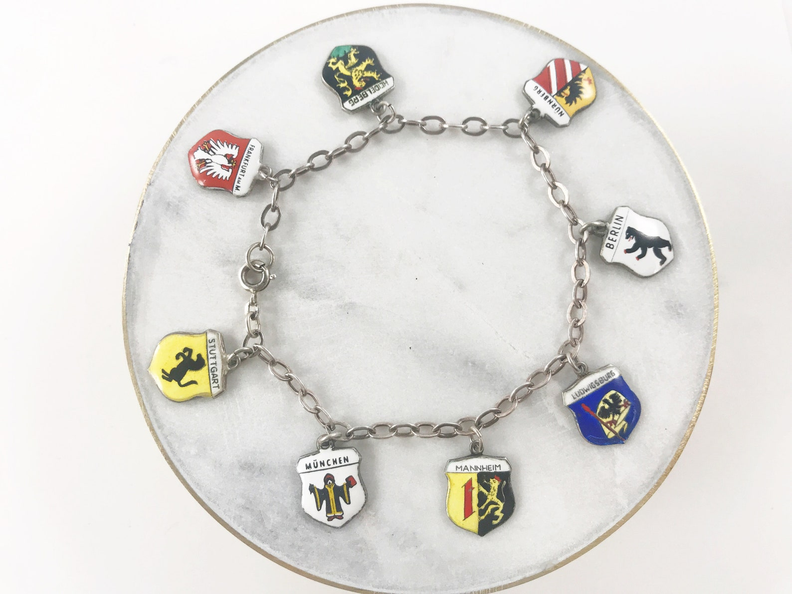 Vintage German Enamel Travel Shield Charm Bracelet with 8 Charms - 800 Silver - Mid-Century Souvenir