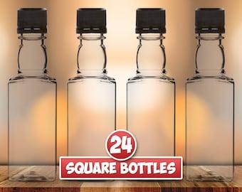 24 Square Mini Liquor Bottles, 50ml, Small Empty Plastic Mini Alcohol Bottles, Mini Bottle Shots, Bottles + Caps (black, gold, red or white)