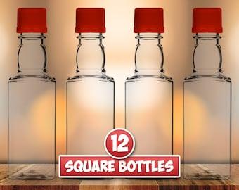 12 Square Mini Liquor Bottles, 50ml, Small Empty Plastic Mini Alcohol Bottles, Mini Bottle Shots, Bottles + Caps (black, gold, red or white)