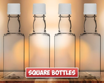 Square Mini Liquor Bottles, 50ml, Small Empty Plastic Mini Alcohol Bottles, Mini Bottle Shots, Bottles + Caps (black, gold, red or white)