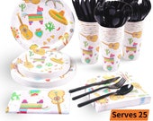Fiesta Party Supplies 177PCS Mexican Theme Disposable Tableware Set Includes Plates, 12oz Cups, Napkin, Tablecloth, Banner More, Serves 25
