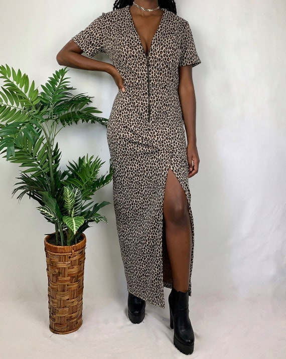 Vintage Knit Cheetah Zip-Front Dress