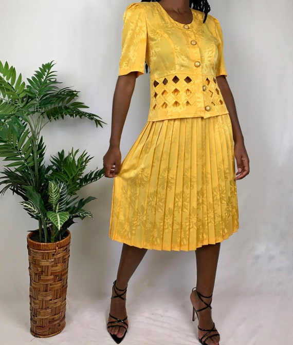 Vintage Upcycled Yellow Pleated Cutout Top and Ski