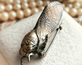 RARE Antique c1900s French Art Nouveau Realistic Cicada Brooch, Detailed 3D Big Cicada Antique Pin, Insect Lover Gift for Her, Mother's Day
