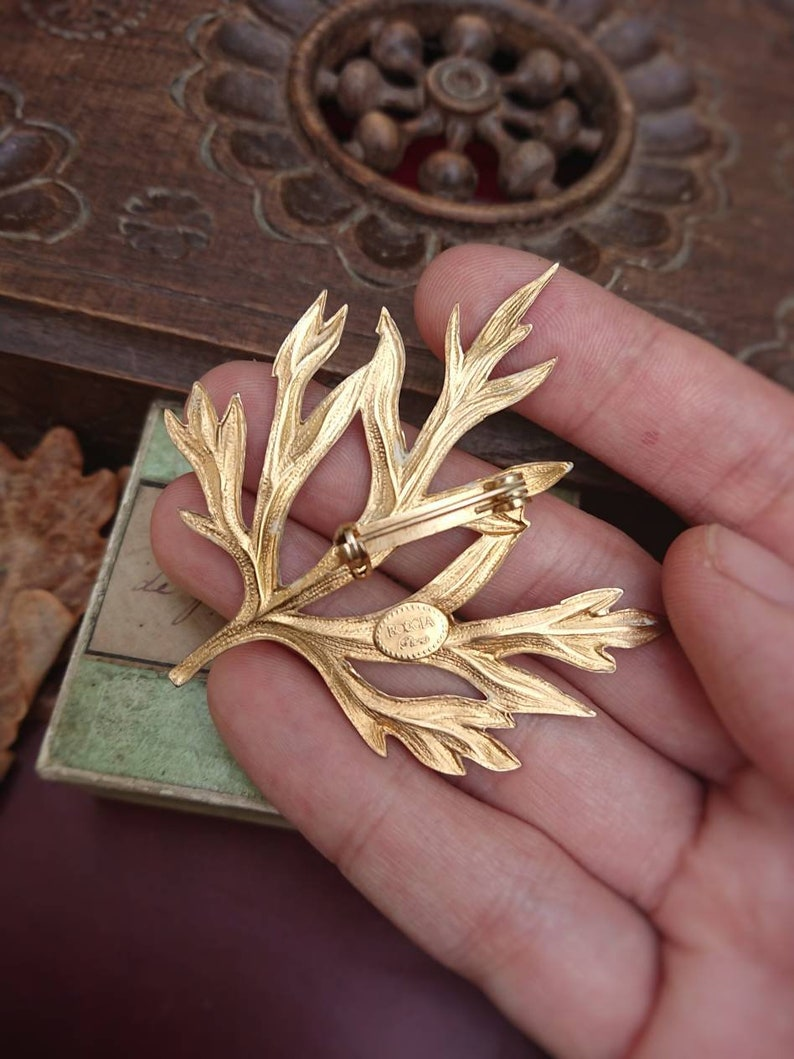 Christmas Gift Her Delicate French Vintage Signed Gold Tone Leaf Brooch Unique Vintage Lover Gift for Woman Retro Wedding Accessory