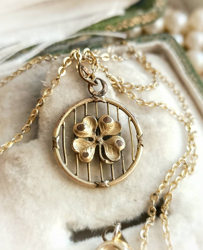 Mother/'s Day Gift for Her Rare Beautiful French Antique Gold Filled Four-leaf Clover Round Necklace Victorian Dainty Clover Gold Pendant