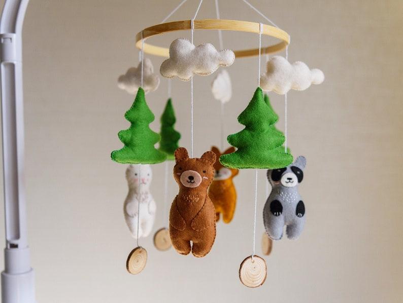 Woodland Crib Mobile  Woodland Nursery   Woodland Baby Shower Fox Baby Crib Mobile Bear Baby Mobile Forest Animals Mobile