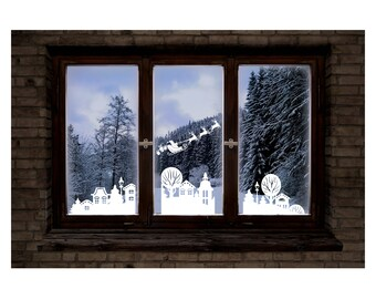 Christmas Reusable Window Stickers - Wintry Village scene and snowflakes