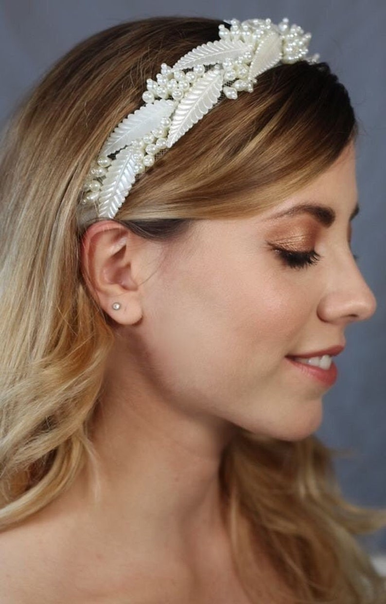 Bridal hair crownBridal headband Boho headband Grecian image 0