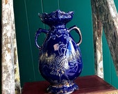 Vintage cobalt deep blue lustreware vase ,gilded,hand painted in the Japanese style - depicting oriental style bird crane or peacock