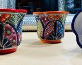 Small Clover Shaped Talavera Planter, Ceramic Indoor Pot, Gardening, Outdoor Garden Container, House Plant Pot, Flower Pot Garden Decor