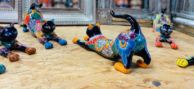 Pottery Pussy Cat Ceramic Kitty Home Decor Animal Figuring The Talavera Lazy Stretching Cat