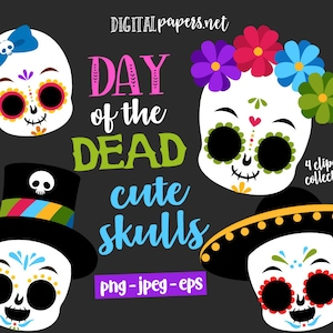 Watercolour Art Download Watercolor Day of the Dead Clipart Sugar Skull Clipart Commercial Use Clipart Mexican Clip Art