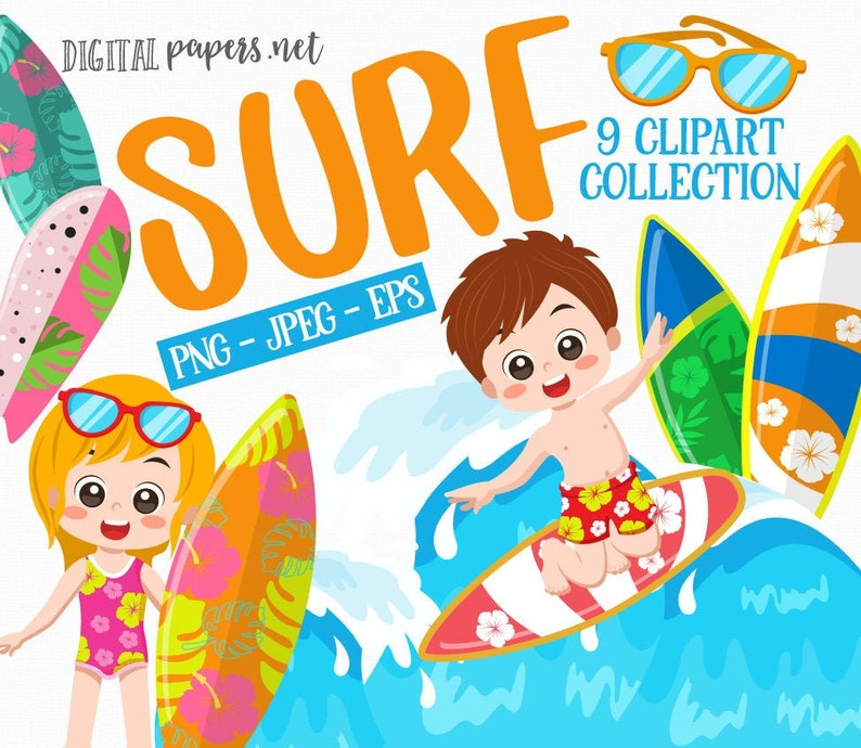Surf Clip Art-Hawaii Clipart-Surfing Clip Art-Summer Clip Art-Beach Clipart-Digital Clipart-Digital Images-Digital Graphics-Instant Download