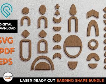 Earring Shape SVG Bundle - Glowforge Laser Ready Cut File Template SVG and more - Hanging Natural, Geometric, Boho, Modern, Scandinavian