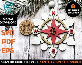 Track Santa Compass QR code layered ornament - DIGITAL DOWNLOAD  -  Glowforge Laser Cut File  - Christmas, Santa, Deer, Pictures Included