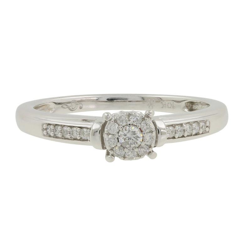 Ladies Estate 10K White Gold Diamond Round Cluster Solitaire Engagement Ring