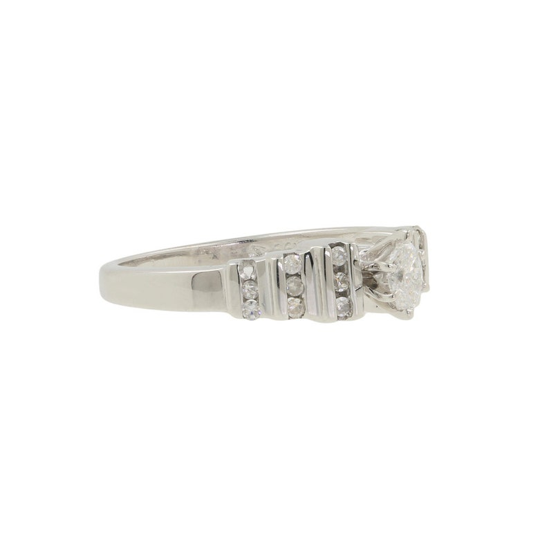 Ladies Vintage Estate 10K White Gold Marquise Cut Diamond Engagement Ring