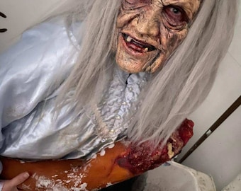 Creepy Old person- lady, man, witch; scary realistic latex mask - halloween costume - professionally handmade; one of a kind, hand painted